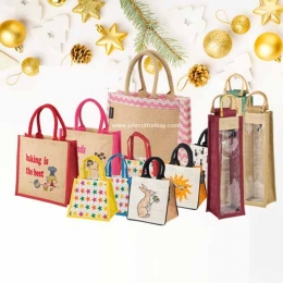 Wholesale Printed Red Christmas Xmas Jute Bags Manufacturers in Japan